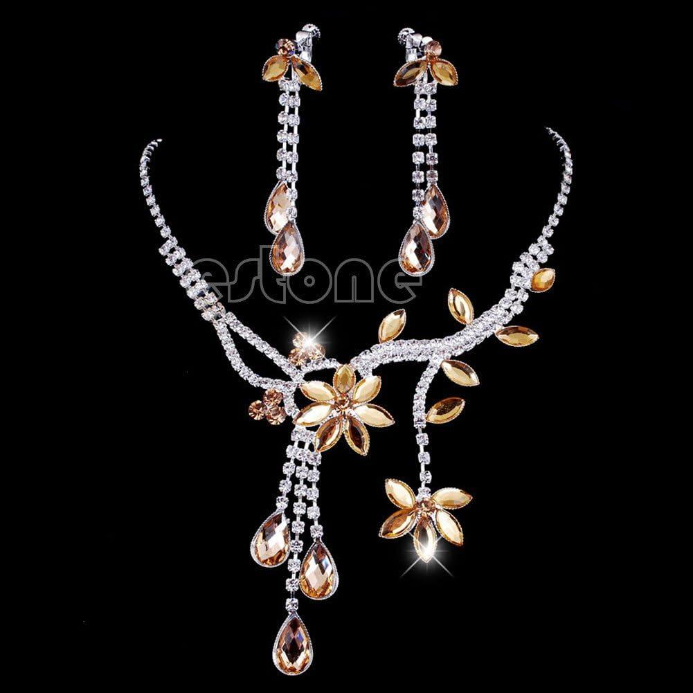 approx Pendant length:7cm//2.73 Lamdoo Ensemble de bijoux Collier et boucles d/'oreilles Fleur et feuille en strass cristal Jaune Red