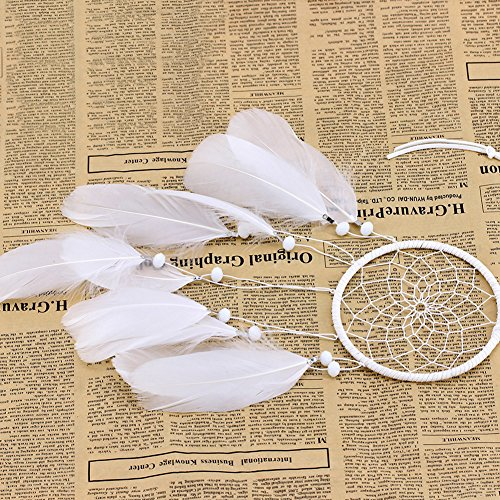 Afco Handmade Indian Feathers Dream Catcher Wall Hanging Car Hanging Decoration Ornament (Pink+White) by Afco (Image #7)