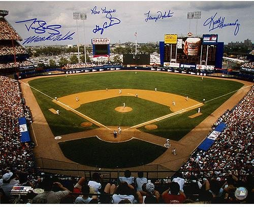1986 New York Mets Six Signature 16x20 Shea Stadium Signed Photo - Framed 'See Through' Style w/Plate (25X29 Outer Frame Dims) (Stadium Yankee Photograph 16x20)