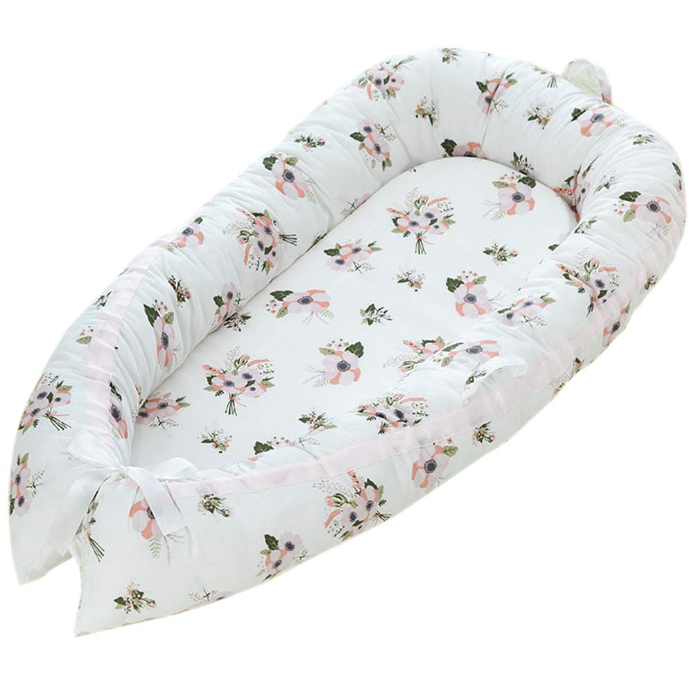 Baby Lounger Portable Baby Cribs Flower Pattern Baby Bassinet for Newborn Baby Girl Cosleeping