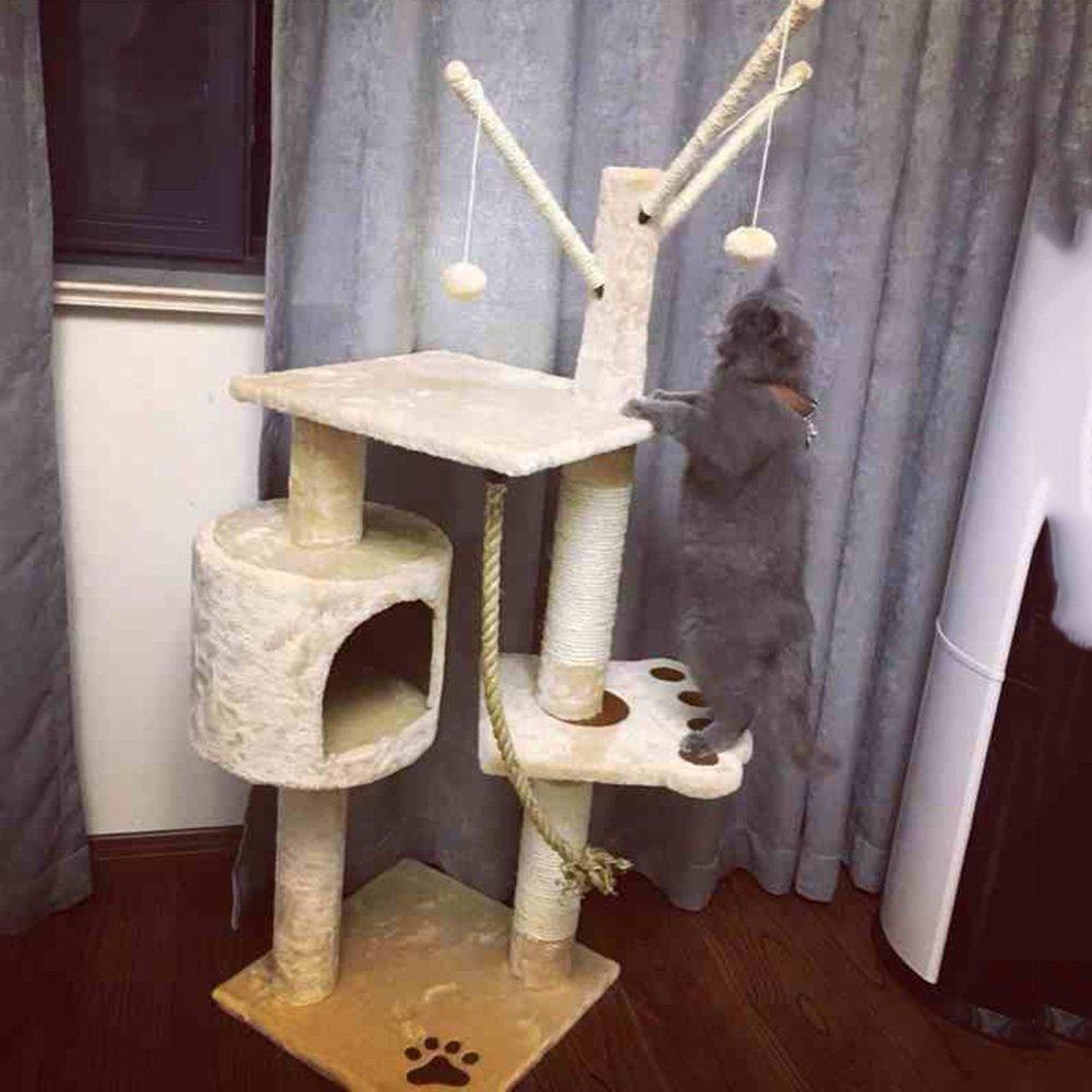 YNZYOG Cat Play Tree e Torre Arrampicata Frame Play Play Play Attività Centro Beige Facile da insDimensionere 39  39  129cm ede282