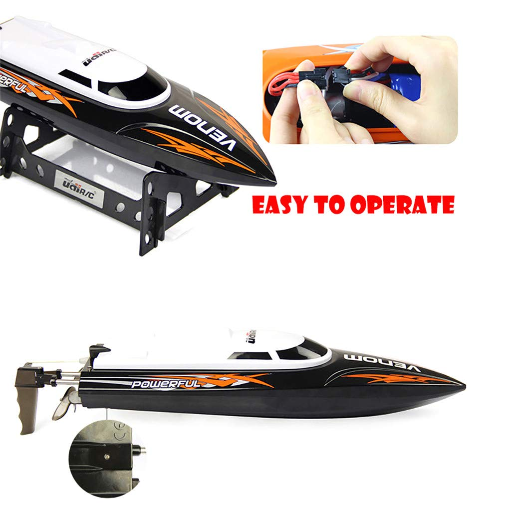 ✈Shipping from The United States✈RC Boat RC Boats for Adults RC Racing Boat High Speed Radio Electronic Remote Control Boat For Kids Black Pools and Lakes Boat Pool Alarm Toy Boat Drone (Black) by DICPOLIA (Image #3)