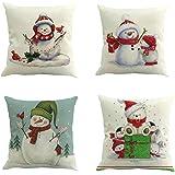 zolimx 4pc Navidad Algodón Lino Cojín de la Cintura Cubierta Caso para Coche Sofá Casa(