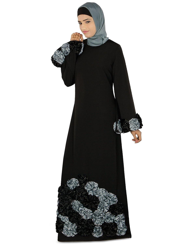 MyBatua Women's Salma Heavy Embroidered Party Wear Abaya in Black