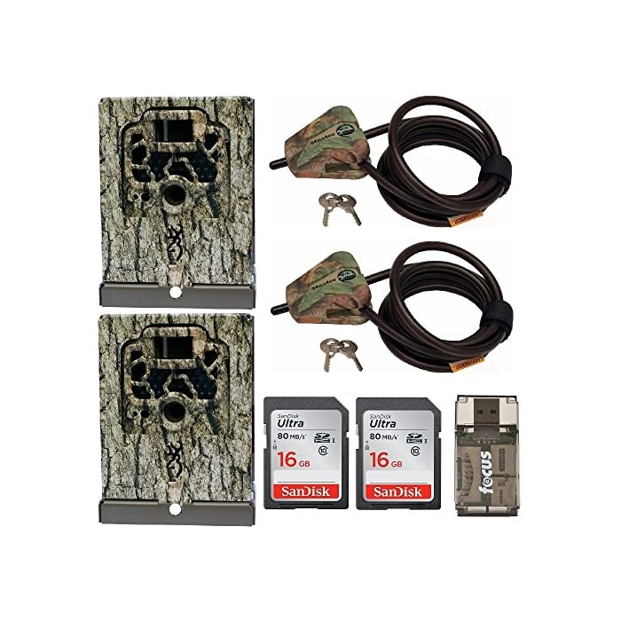 Browning Trail Cameras Security Box (2) + Python Cable Lock (2) + 16GB SD Card (2) + Focus USB Reader Bundle