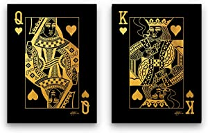 Inktuitive 'Royalty' Gold Inspirational Wall Art w/Frame | Playing Cards Canvas Print | Couples Motivational Décor for Bedroom, Living Room & Business Office | 24 x 18 Inches (2 Piece Set)