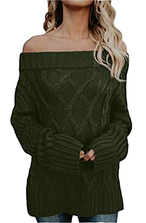 9c1e0282988a0b FEIYOUNG Women Long Sleeve Slim Fit Cable Basic Off Shouder Pullover  Sweater Knit Jumper (Small
