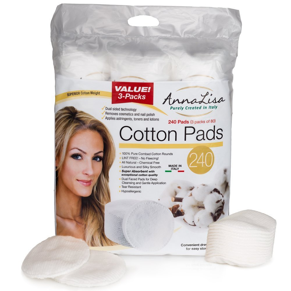 Italian 100% Premium Cotton Pads, 240 Count (3 pack of 80) CCCorp.