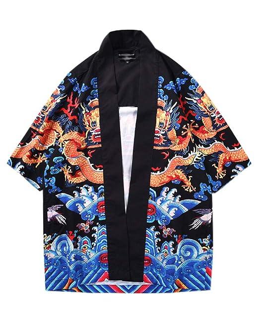 Hombres Imprimir Kimono Rebeca Camisa Retro Playa Chaqueta Manga 3/4