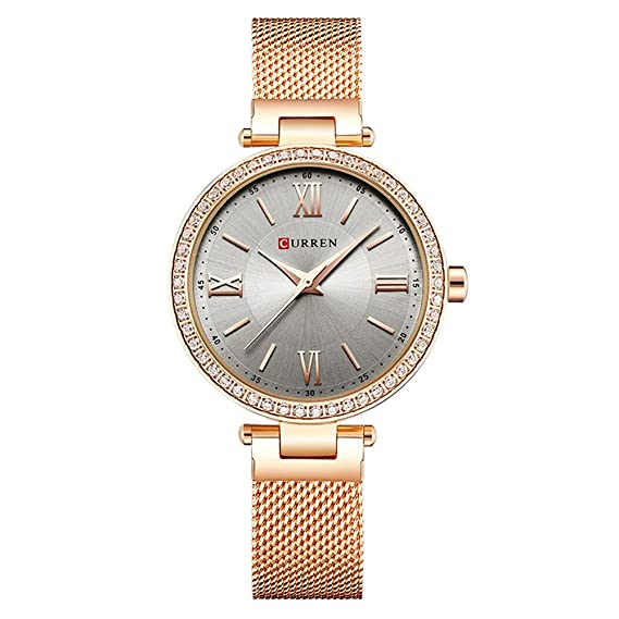 5961a132157 Curren 9011 Women Watches Fashion Quartz Luxury Simple Ultra-Thin Dial Stainless  Steel Strap Female