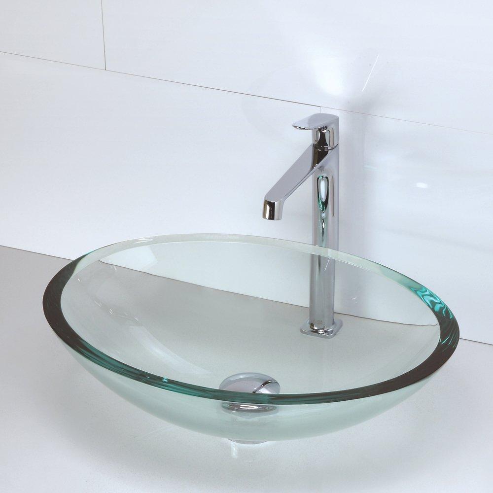 Captivating DECOLAV 1129T FCR Ela Translucence Oval 19mm Tempered Glass Vessel Sink,  Frosted Crystal     Amazon.com