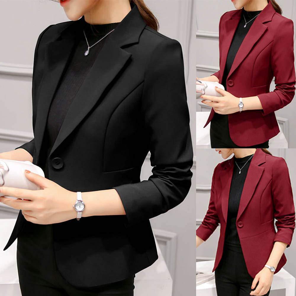 0f6f553aab767 Blazer Petite Femme Slim Workwear, Overdose Soldes Hiver Veste Noir Bouton  Casual Suit Classique Chic Coat ...
