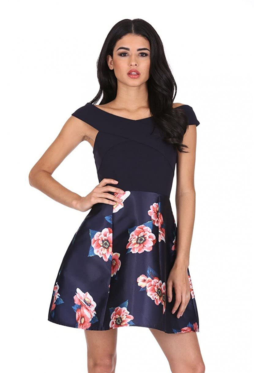 7c733998cca24 Our contrast 2 in 1 floral dress is a must for the season. A bardot cross  front top complimented with a large floral print skirt perfect for any  occasion!