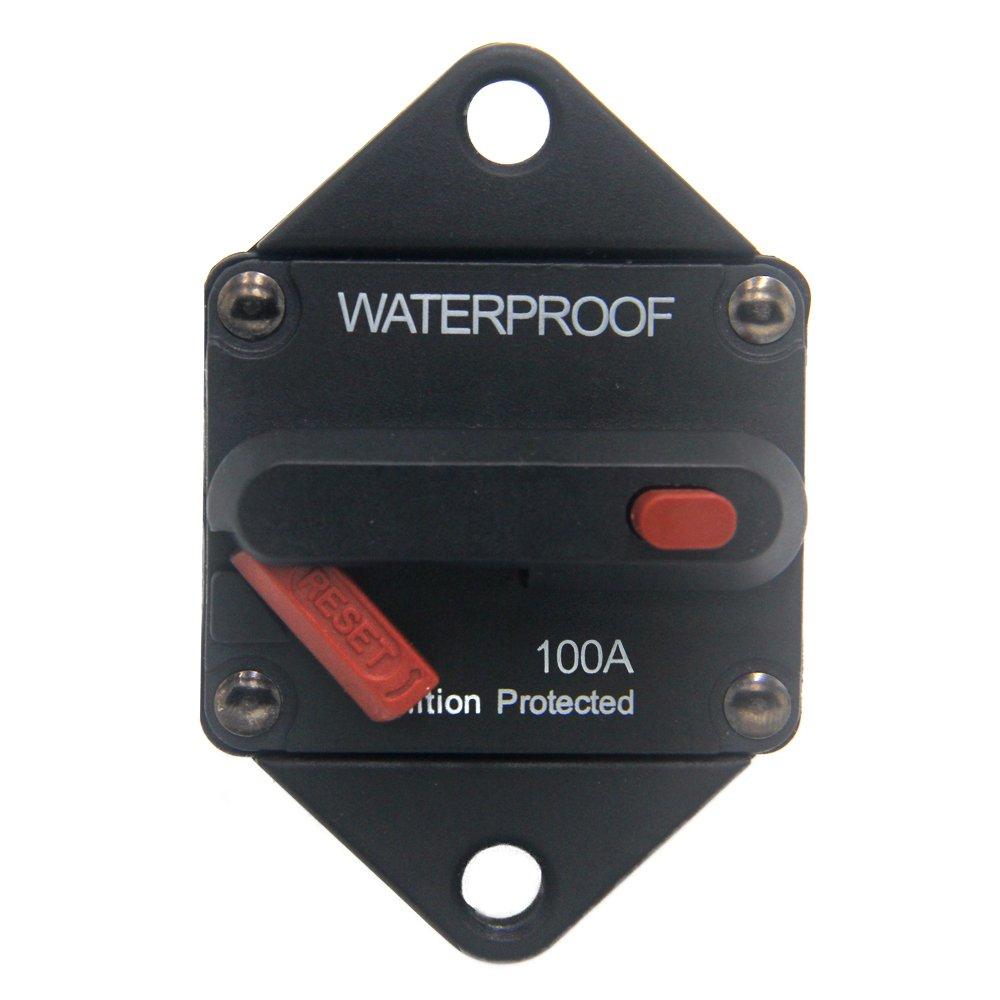 ZOOKOTO 100A Circuit Breaker, Hi-Amp Fuse Inverter with Manual Reset for Marine Auto Truck ATV Caravan, Waterproof, 12V- 48V DC 100 Amps
