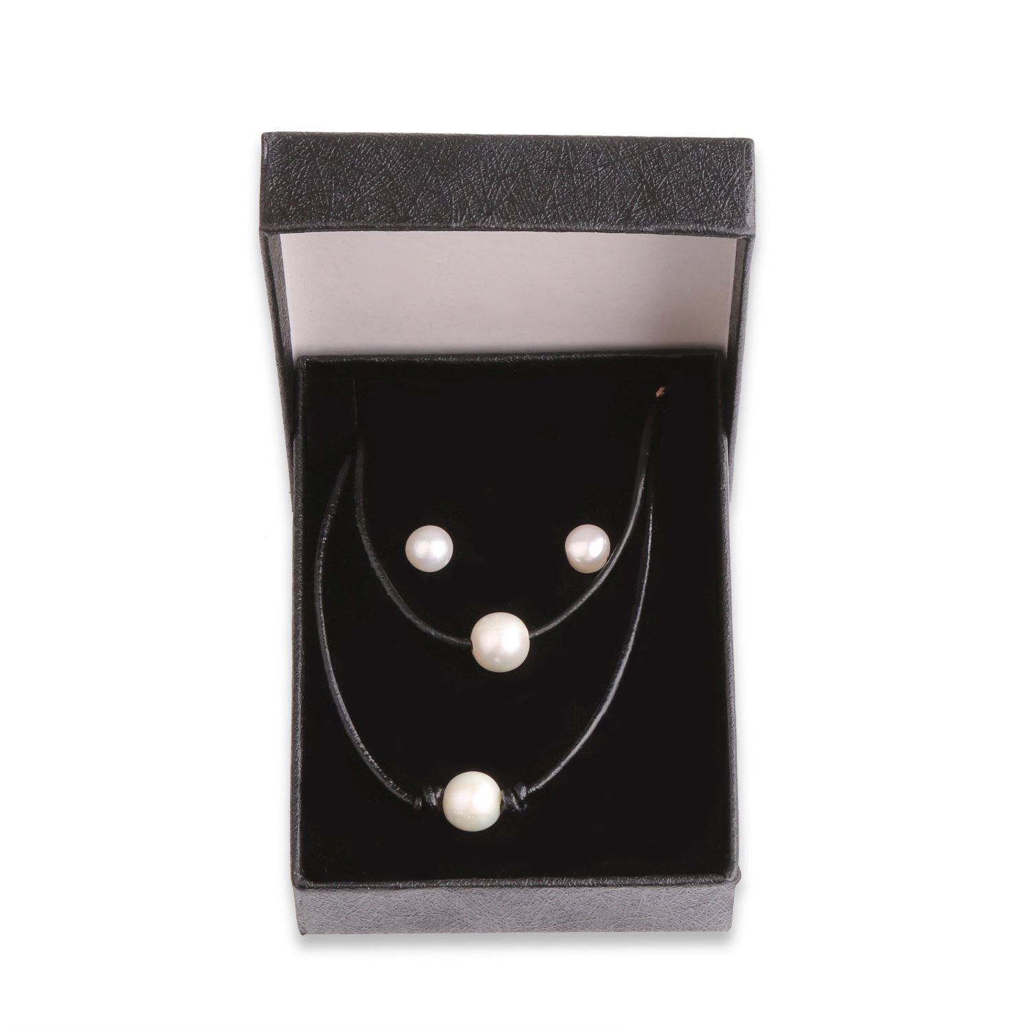 USA Annabel 3PCS Pearl Choker Leather Handmade Necklace for Women Jewelry Girls, Package Including Necklace, Bracelet and Earrings by USA Annabel (Image #7)