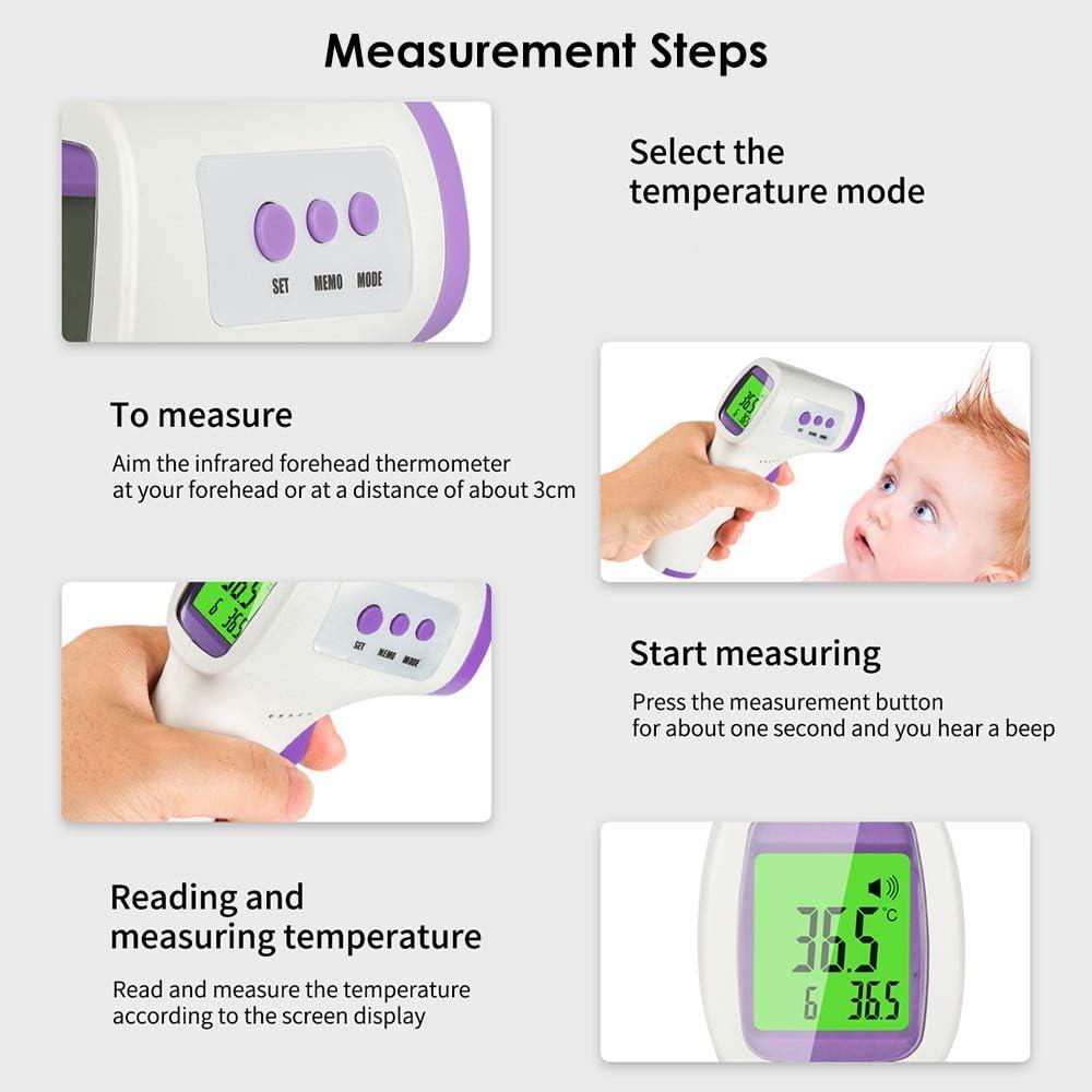 Leepesx Term/ómetro Digital infrarrojo para el Cuerpo Medici/ón de Temperatura de la Frente del o/ído sin Contacto de Alta precisi/ón con Pantalla LED para beb/és y Adultos