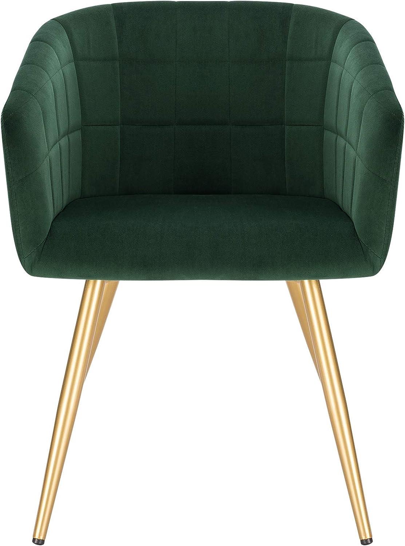 WOLTU 4X Esszimmerstühle Küchenstuhl Designer Stuhl Relaxstuhl Sitzfläche aus Samt Gestell aus Metall mit Rückenlehne und Armlehnen mit goldenem