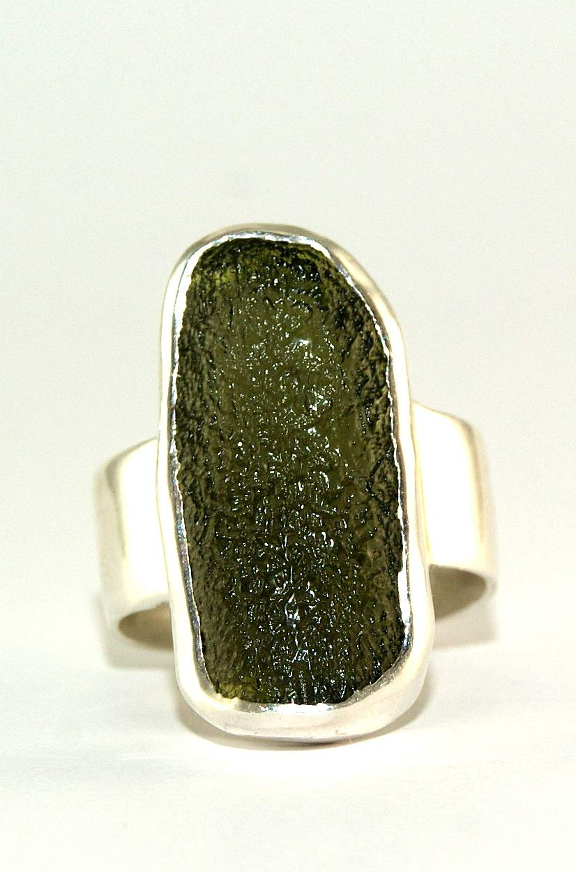 Moldavite Ring - Raw Rough - Polished Sterling Silver - R1810 by Gifts and Guidance