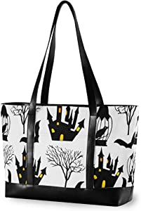 Halloween Large Woman Laptop Tote Bag - Crow Tree Castle Happy Halloween Canvas Shoulder Tote Bag Fit 15.6 Inch Computer Handbag for Work School