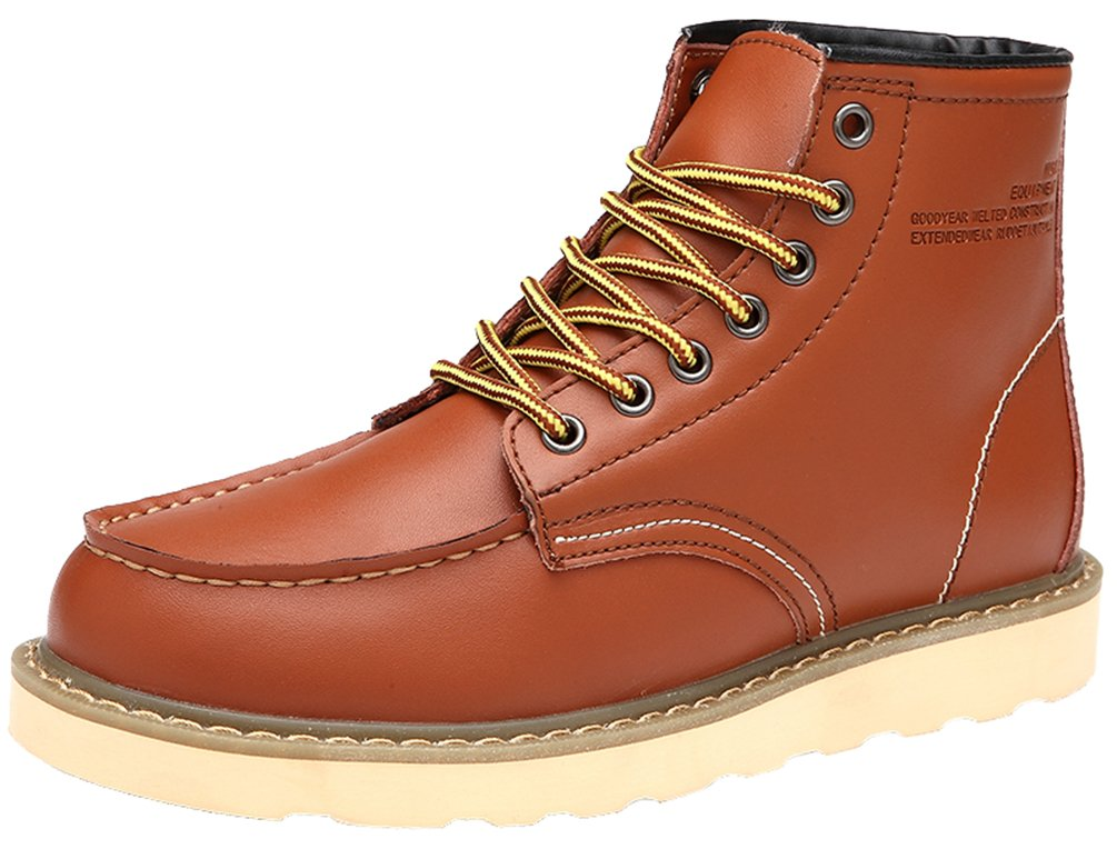 QYY-0027 New Mens Stylish Casual Leather Fabulous High-top Warm Working Shoes