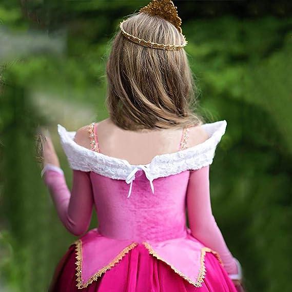 OBEEII Aurora Costumi Bambina Principessa Bella Addormentata Vestito Carnevale Festa Compleanno Carnival Cosplay Abito per Ragazze 4-12 Anni