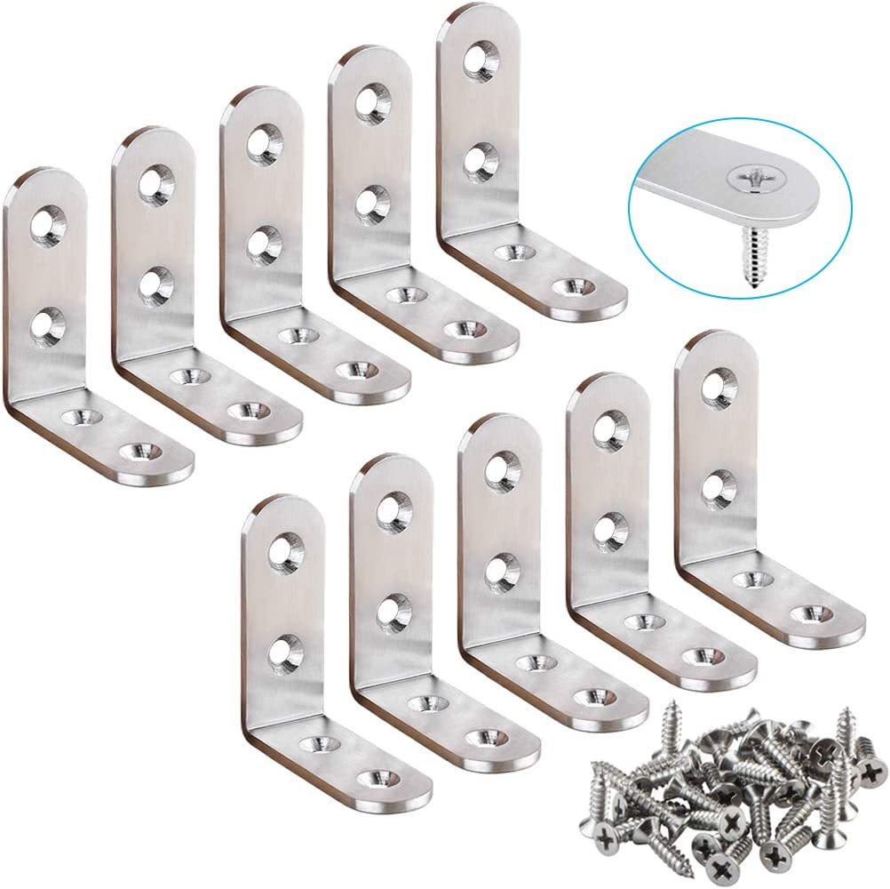 YEWLACA 10 Sets Heavy Duty Corner Braces 45mm x 45mm Stainless Steel L Shaped Corner Bracket Joint Right Angle Brackets 90 Degree Wall Support Brackets for Wood, Screws Included