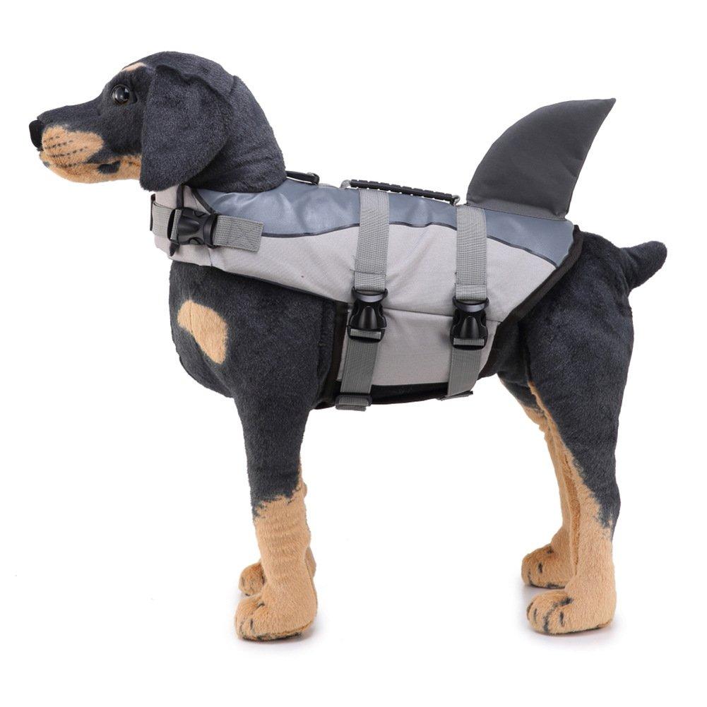 SIMPLEST LIFE Adjustable Shark Shape Design Dog Life Vest Dog Saver Life Jacket for Dogs-Shark-L