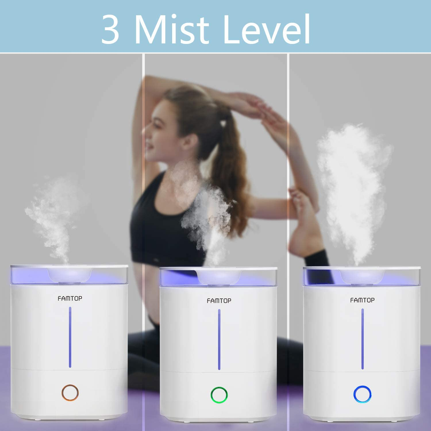 FAMTOP Ultrasonic Cool Mist Humidifiers 4L, Top Fill Air Humidifier Diffusers with Light, Whisper Quiet & 360°Nozzle, Up to 40 Hours, Auto Shut Off
