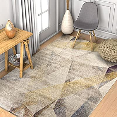 """Barra Dusty Pink Multi-Color Modern Geometric Triangle Pattern Abstract 2x7 (2'3"""" x 7'3"""" Runner) Area Rug Contemporary Thick Soft Plush"""