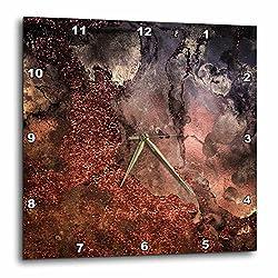 3dRose Luxury Copper Ombre Gem Stone Marble Glitter Metallic Faux Print Wall Clock, 15 x 15