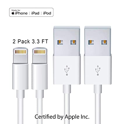 [2Pack] iPhone Charger [Apple MFi Certified] Lightning Cables (White 1M/3.3FT) Compatible iPhone X/8/7/6s/6/plus/5s/5c/SE,iPad Pro/Air/Mini,iPod Touch