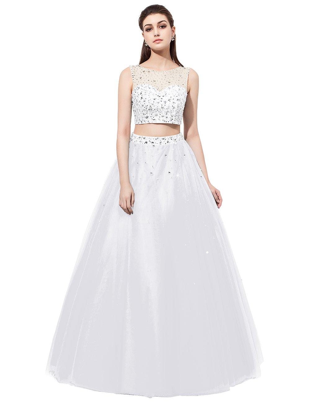 Dresstell 演奏会ドレス ステージドレス ビジュー付き ツーピースドレス 袖なし ビスチェタイプ 発表会ドレス カラーチュチュ 舞台ドレス B01MR2UPU5 JP17 ホワイト ホワイト JP17