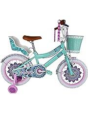 """Bicicleta para Niña Modelo """"Mandala"""" con Ruedas Laterales, Canastilla Frontal y Portamuñecas, Rodada 16 1 Velocidad (Aqua)"""