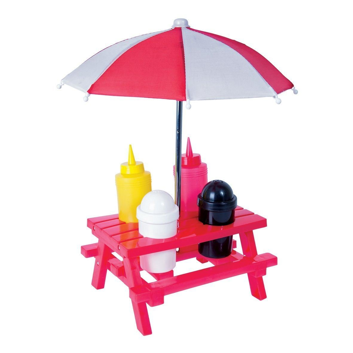 Picnic Bench with Parasol Condiment Sauce Holder