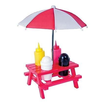 Banco de Picnic mesa de picnic con sombrilla condimento salero y pimentero y soporte de sauce