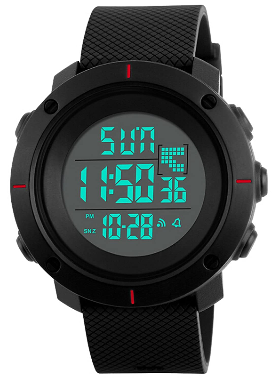歩数計スポーツ腕時計メンズミリタリークロノグラフTimekeeping LED電子デジタル腕時計 B077VN4XMR