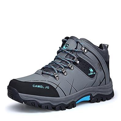 Gomnear Herren Wandern Stiefel High Top Trekking Schuhe Non Slip Breathable Wasserdichte Walking Klettern Sneakers,Khaki-43