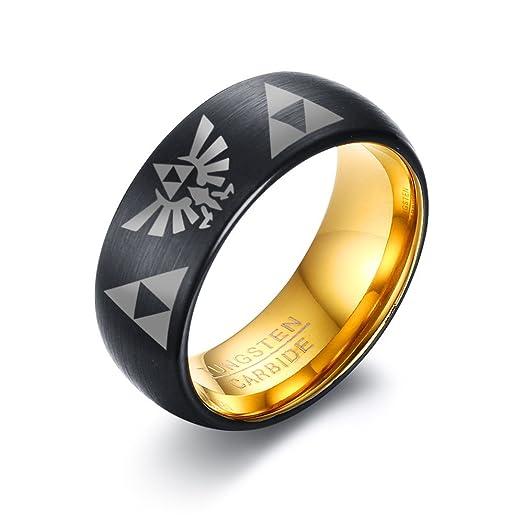 Vnox Tungsten Carbide Two Tone the Legend of Zelda Triforce Ring