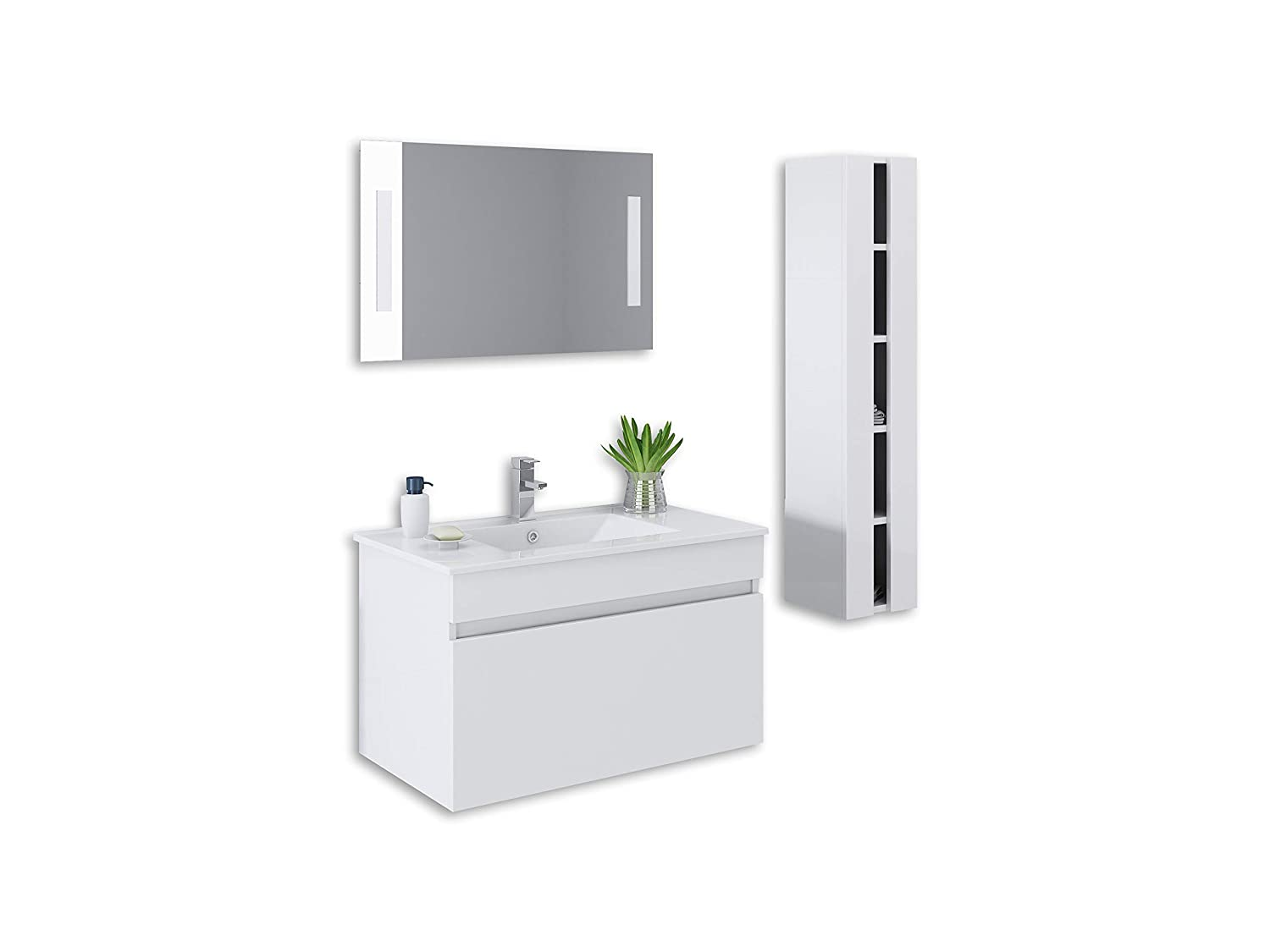 32 White High Gloss Wall Mount Vanity Set Mirror Sink Faucet And