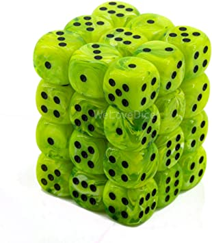 Chessex Dice D6 Sets Vortex Bright Green With Black 12mm Six Sided Die 36 Block Of Dice Amazon Co Uk Toys Games
