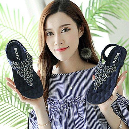 Outdoor Sandals Lady Toe Bohemia Blue Shoes Flat Women hunpta Bead Peep Slippe Shoes CqRvw0w
