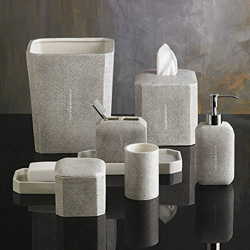 4-Piece Bath Accessory Set by Kassatex, Shagreen Bath Accessories | Lotion Dispenser, Toothbrush Holder, Tray, Cotton Jar - Fine Embossed (Porcelain Bath Accessories)