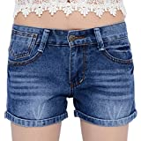 Chouyatou Women's Classic Five-Pocket Oversized Denim Shorts (X-Large, Blue)