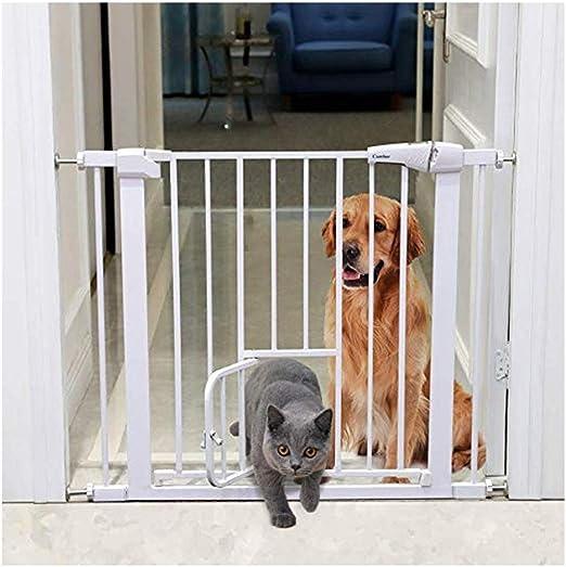 HFYAK Baby Gate con Puerta Gato Barrera Efectiva para Mascotas Perro con Cierre Automático Cerrado Barandilla Seguridad Metal para Puertas Escaleras Pasillos Interior Al Aire Libre: Amazon.es: Hogar