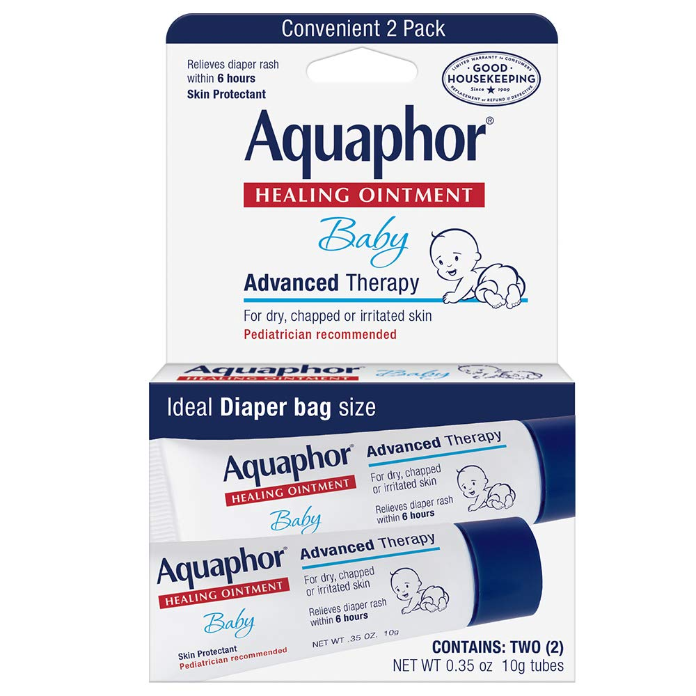 Aquaphor Baby Healing Ointment To-Go Pack – Advanced Therapy for Chapped Cheeks and Diaper Rash – Two .35 oz. Tubes