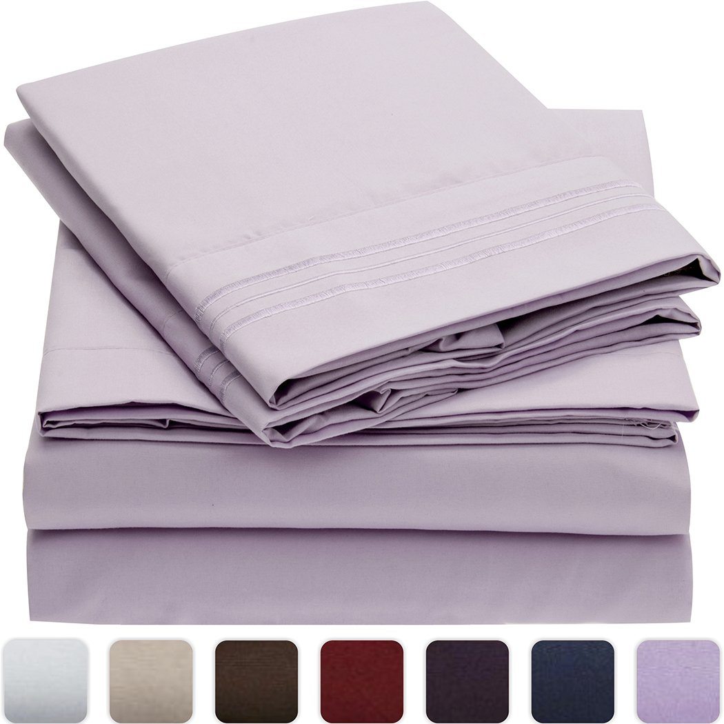 Mellanni Bed Sheet Set - Brushed Microfiber 1800 Bedding - Wrinkle, Fade, Stain Resistant - Hypoallergenic - 4 Piece Full, Lavender