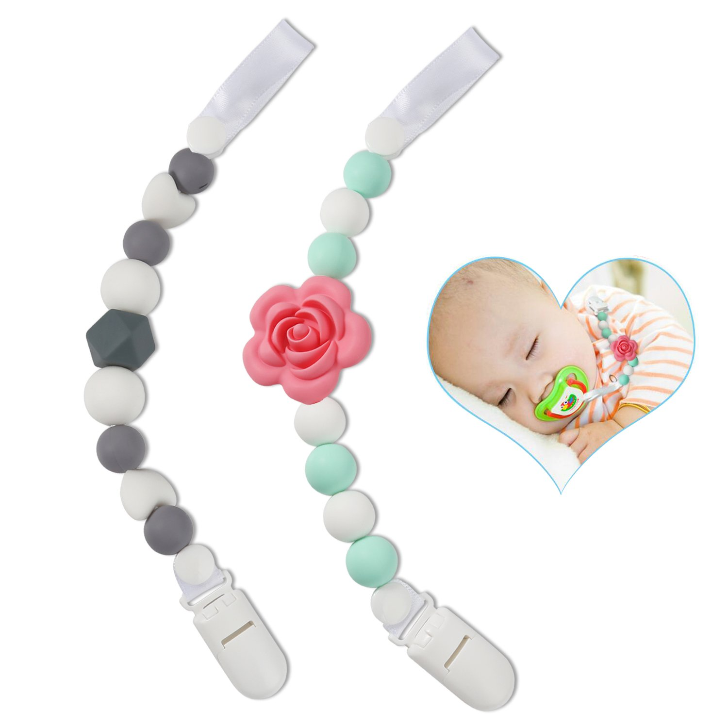 Pacifier Clip, CLEYCYE Baby Pacifier Clip – Teething BPA Free Bead Silicone Pacifier Clip Boy/Girl - with Binky Holder Universal Strap/Holder/Leash for Mom, Soothies, Teether Toys, Drool Bibs, 2pack