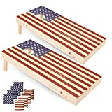 Play Platoon Regulation American Flag Cornhole Boards - 2 x 4 Ft Tournament Size Wooden Corn Hole Board Game Set