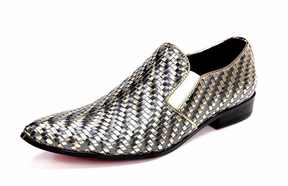 Männer British Pointed Oxford Fashion Designer Lederschuhe Bequeme Woven Schuhe Gold