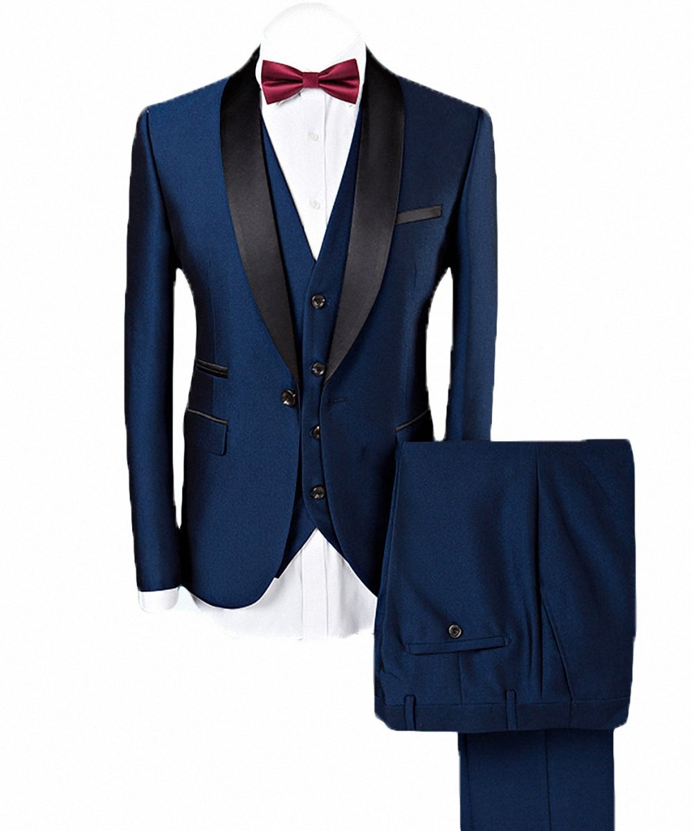 WEEN CHARM Men's 3-Pieces Suit Slim Fit Shawl Lapel One Button Vested Dress Suit Set Blazer Jacket Pants Tux Vest-Blue